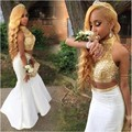 Gold and White African Two Pieces Prom Dresses Mermaid 2016 Beaded Black Girl Prom Dress High Neck Arabic Pageant Party Gowns