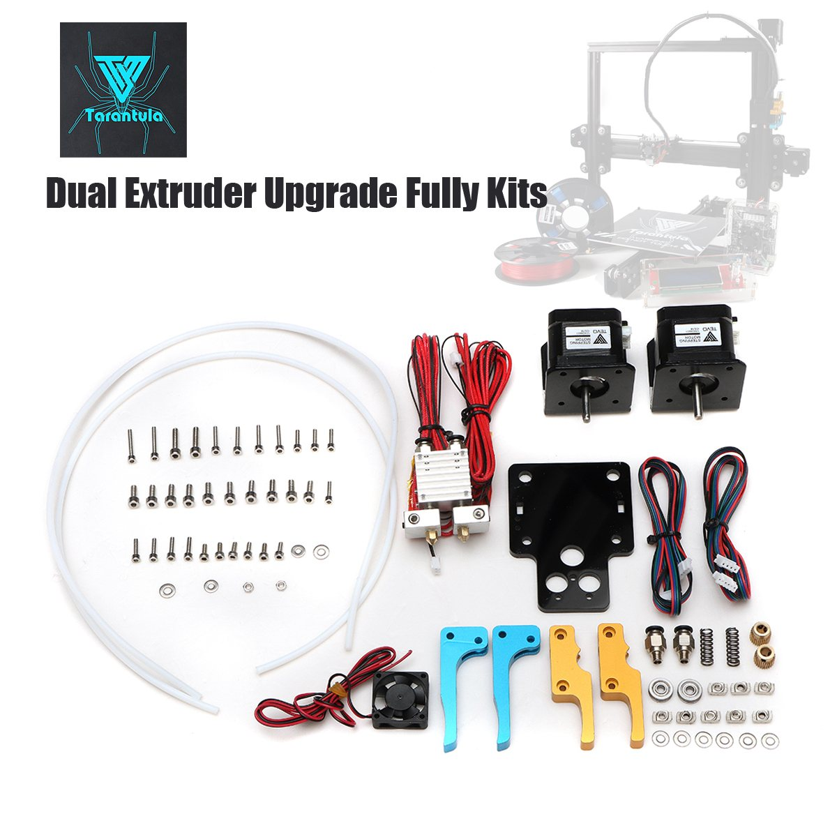 TEVO Tarantula Dual Extruder Upgrade Kits For 3D Printer With Cooling Fan and Nema17 Stepper Motor 2017 newest tevo tarantula 3d printer impresora 3d diy impressora 3d with filament micro sd card titan extruder i3 3d printer