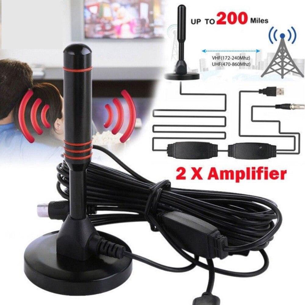 Novo amplificador interno 200 p 4 k 16ft do cabo coaxial do amplificador DVB-T2 p hdtv da antena interna da tevê de digitas hdtv da antena da tevê de 1080 milhas