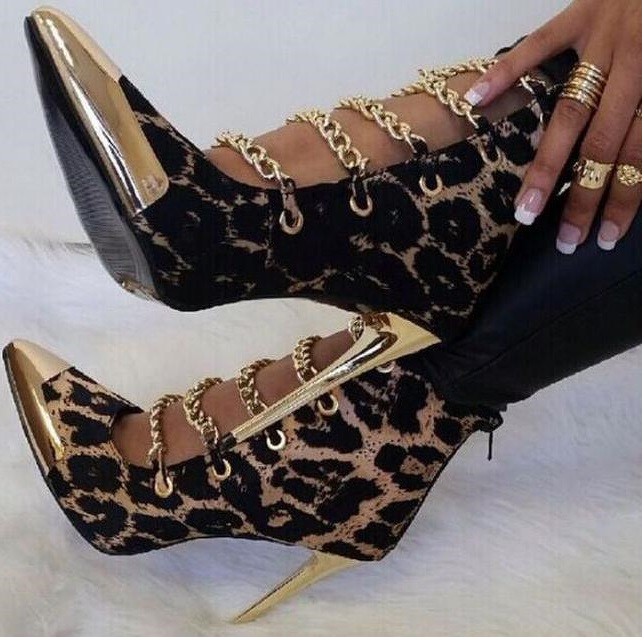 все цены на Sexy Leopard Stiletto Heels Ankle Booties Metal Chains Gold Pointed toe Cut-outs Ankle Boots Women Dress High Heel Pumps онлайн