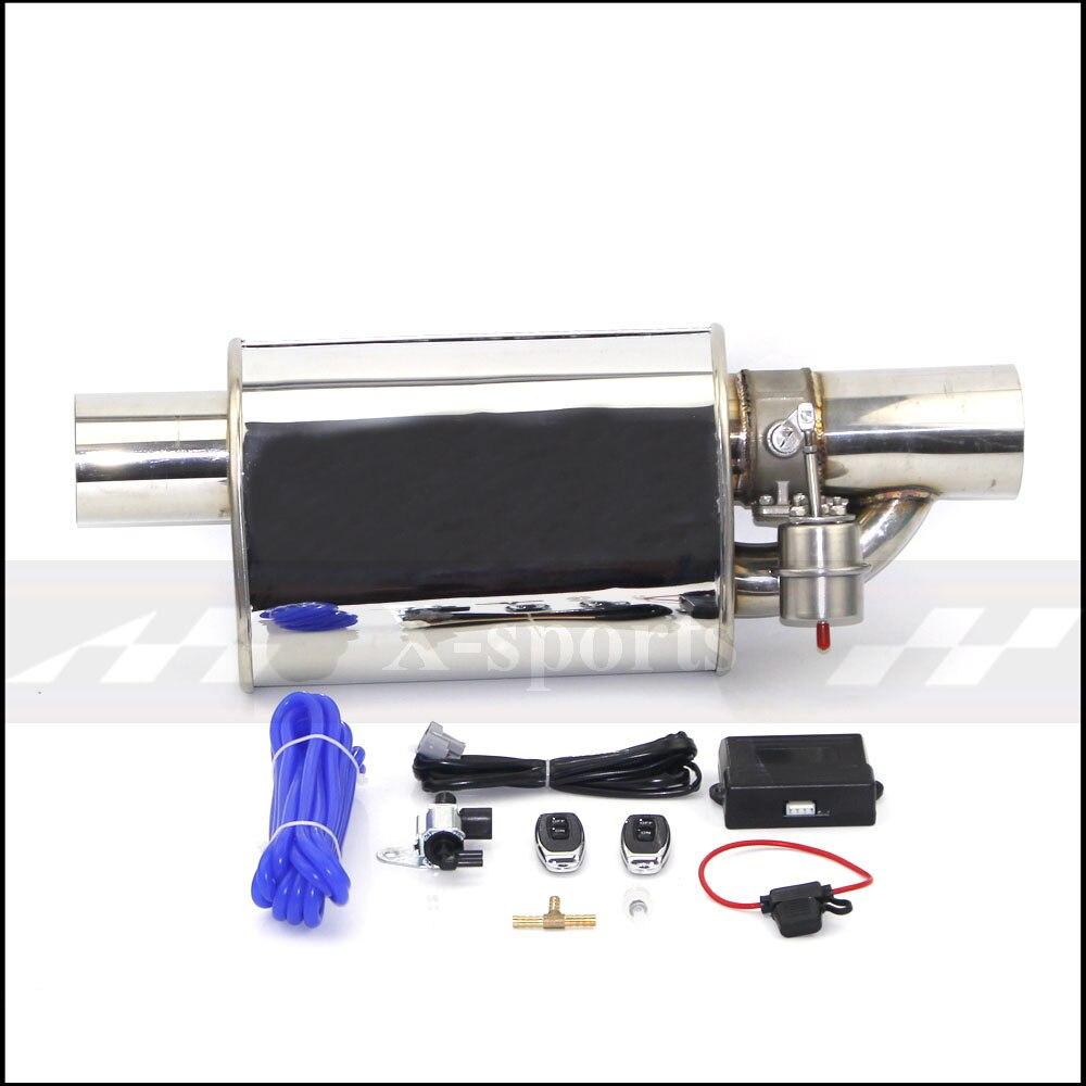 Voiture tuyau d'échappement pompe à Vide Variable Valve Silencieux télécommande en acier Inoxydable ID Universel 51mm 63mm 70mm 76mm Plat forme