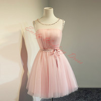 Blush Pink Prom Dresses Jewel Neck Tulle Short Party Gowns With Lace Sash Cute Homecoming Dresses