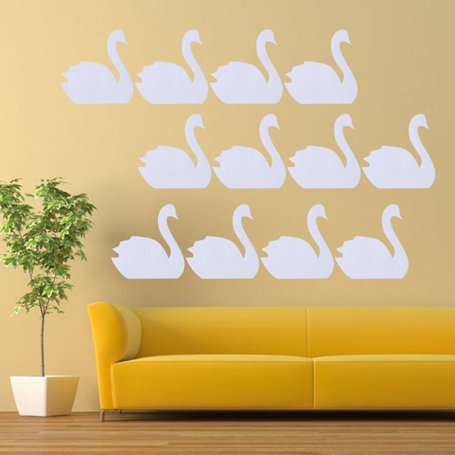 12 Stücke Schwan/Blatt DIY Lustige Kleine Nette Swan Aufkleber Wohnzimmer  Schlafzimmer Gefrierschrank Wand Aufkleber