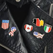 American Italy Canada Flags Enamel Brooch Denim coat Pin Shirt Patriotism Lapel Pins Badges Christmas Gifts for Friend(China)