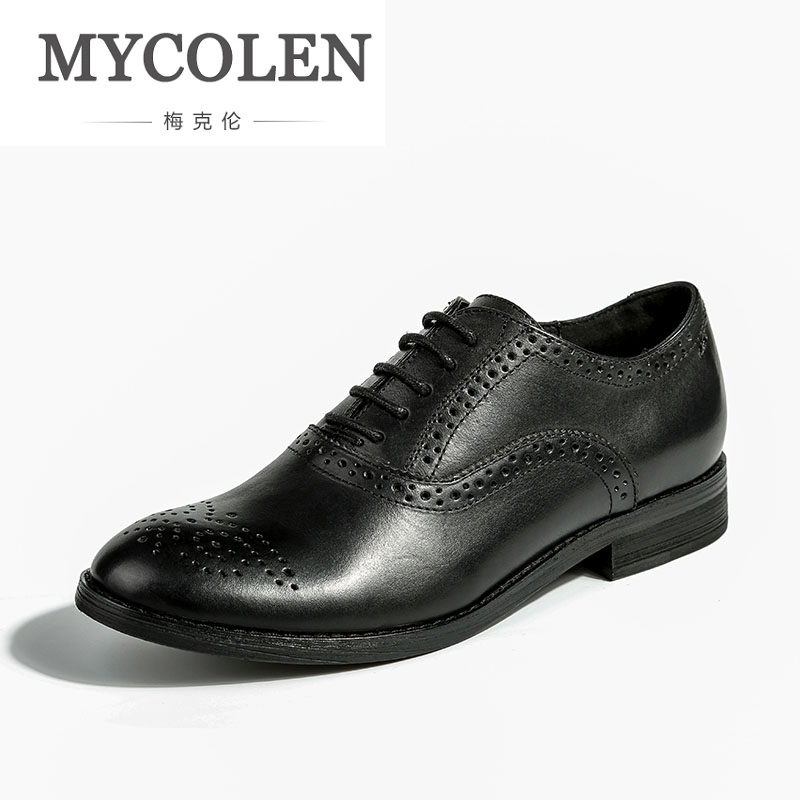 MYCOLEN Italian Designer Black Brogue Shoes Genuine Leather Lace Up Women Formal Dress Oxfords Party Office Wedding Women Shoes недорого