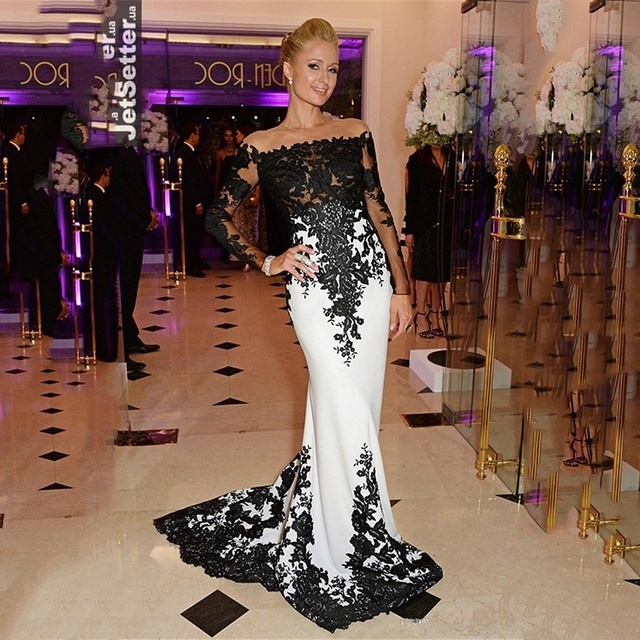 Top Qualidade Oscars Red Carpet Celebrity Dresses Branco e Preto Chiffon Boat Neck Vestido de Baile 2016 Vestidos de Noite Formais Mais tamanho
