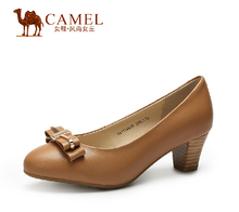 Camel mature fashion shoes with bows ladies purmps  leather shoes