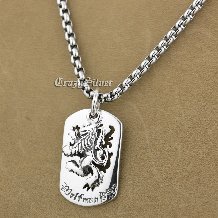 925 Sterling Silver King Lion Dog Tag Biker Pendant 9S020A 316L Stainless Steel Necklace 24 inches kcchstar cross style 316l stainless steel pendant necklace golden silver