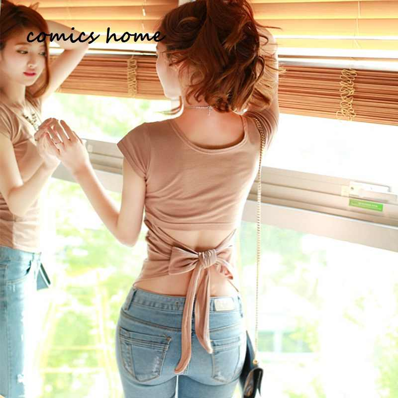 New fashion women t-shirt  Sexy Hollow Out Back Big Bow T-shirts Black White Khaki Pink Color Korean Style Top for Party Club