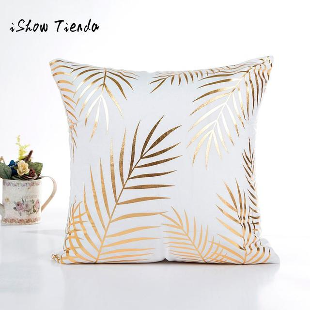 ISHOWTIENDA Cushion Cover 45X45 Gold Foil Print Pillow Case Decorative  Cojines Sofa Waist Living Room Cushion
