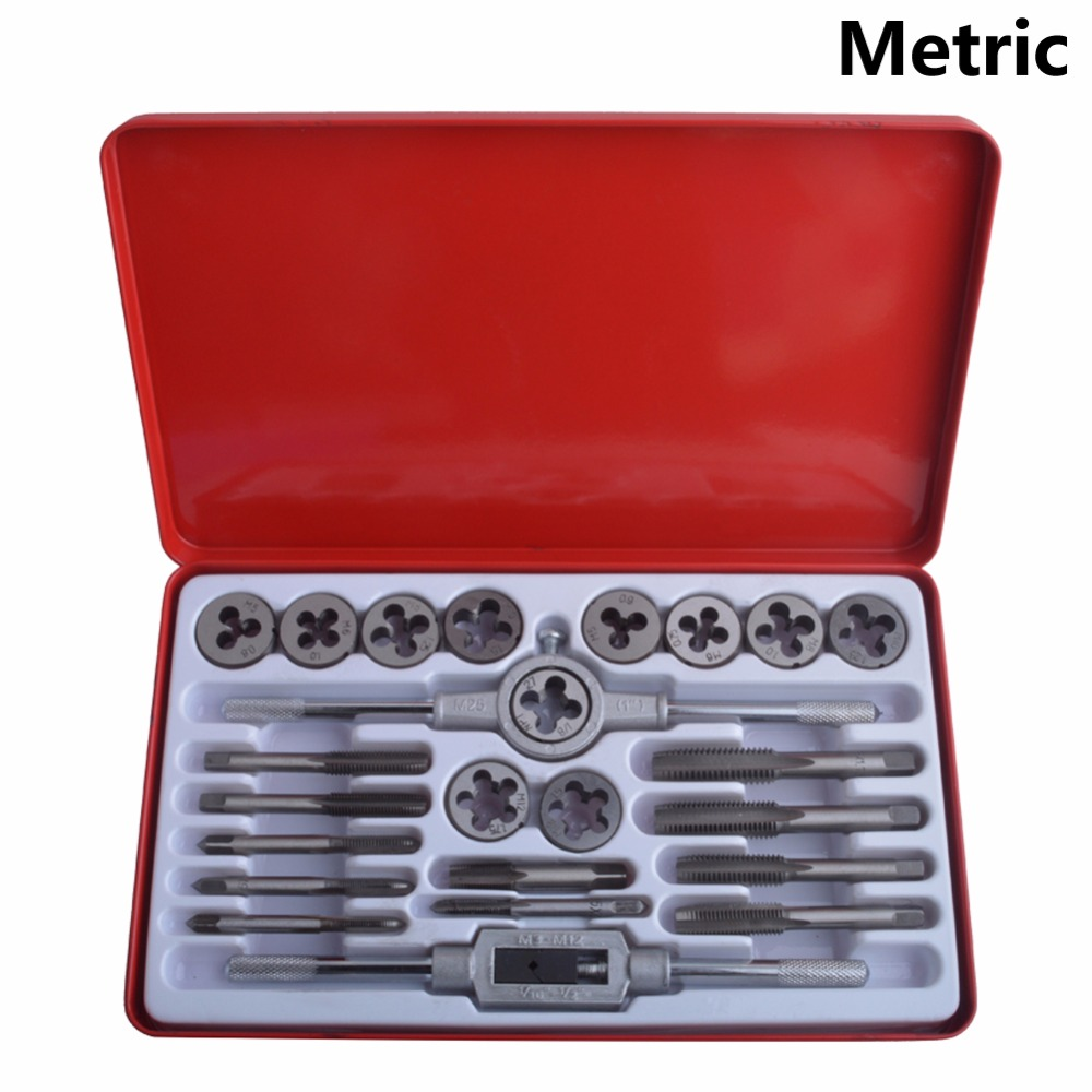 New 24PC Alloy Steel Tap and Die Set Metric Tap Die Set M3 M12 SAE Tap Die Set 1/4 1/2 in metal case