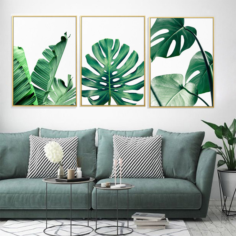 FGHGF Modern Prints Plant Leaf Art Posters And Prints Green Wall Art Canvas Painting Art Wall Pictures For Living Room Frameless