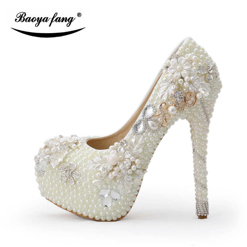 BaoYaFang Beige pearl Beads Womens Wedding shoes woman High heels platform shoes party dress shoes Luxury Bridal big size shoe new arrival spring and autumn red pearl wedding shoe up heel platform shoes woman party shoes luxury handmade shoes size 34 39