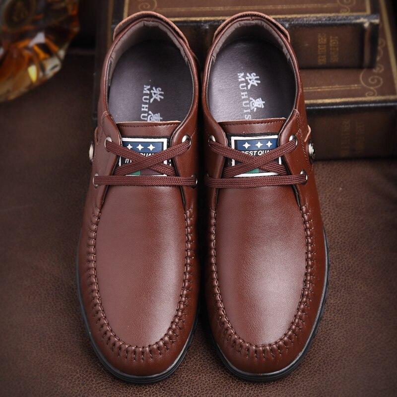 Augmentation Hauteur Doux Mode Cuir Automne Oxfords Hommes Plates D'ascenseur Black En brown Chaussures Casual Marque Muhuisen HwPY7wq