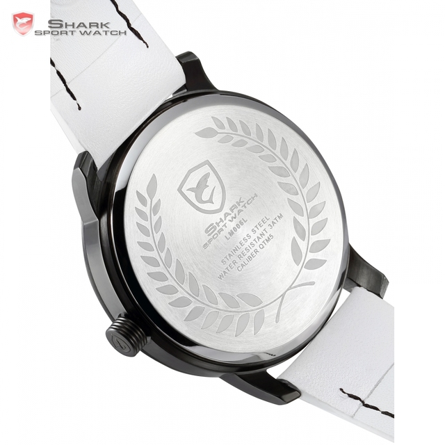 Top Brand Luxury SHARK Sport Watch Men 2016 Games Limited White Black Flame Genuine Leather Olive Back Relogio Masculino /SH515