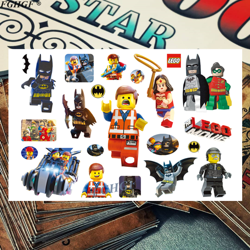 Kids Cartoon LEGO Building Blocks Child Temporary Body Art Flash Tattoo Sticker 17*10cm Waterproof Painless Tattoo Free Shipping