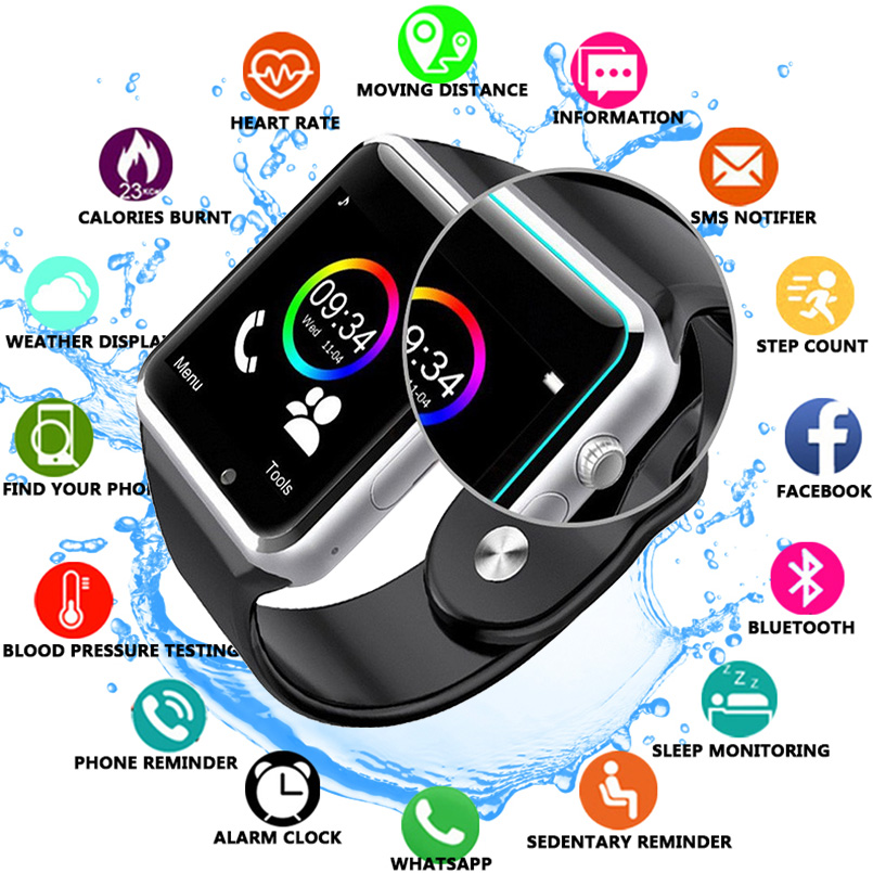 A1 наручные часы Bluetooth Смарт часы спортивные Шагомер с сим камерой Smartwatch для Android HUAWEI Apple samsung Watch-in Смарт-часы from Бытовая электроника