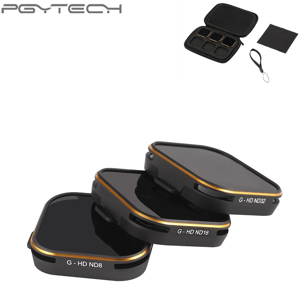 PGYTECH 3pcs/bag Lens Filter Set ND8+ND16+ND32 for GOPRO Hero 5 Camera Accessories premium nd8 camera lens filter 46mm