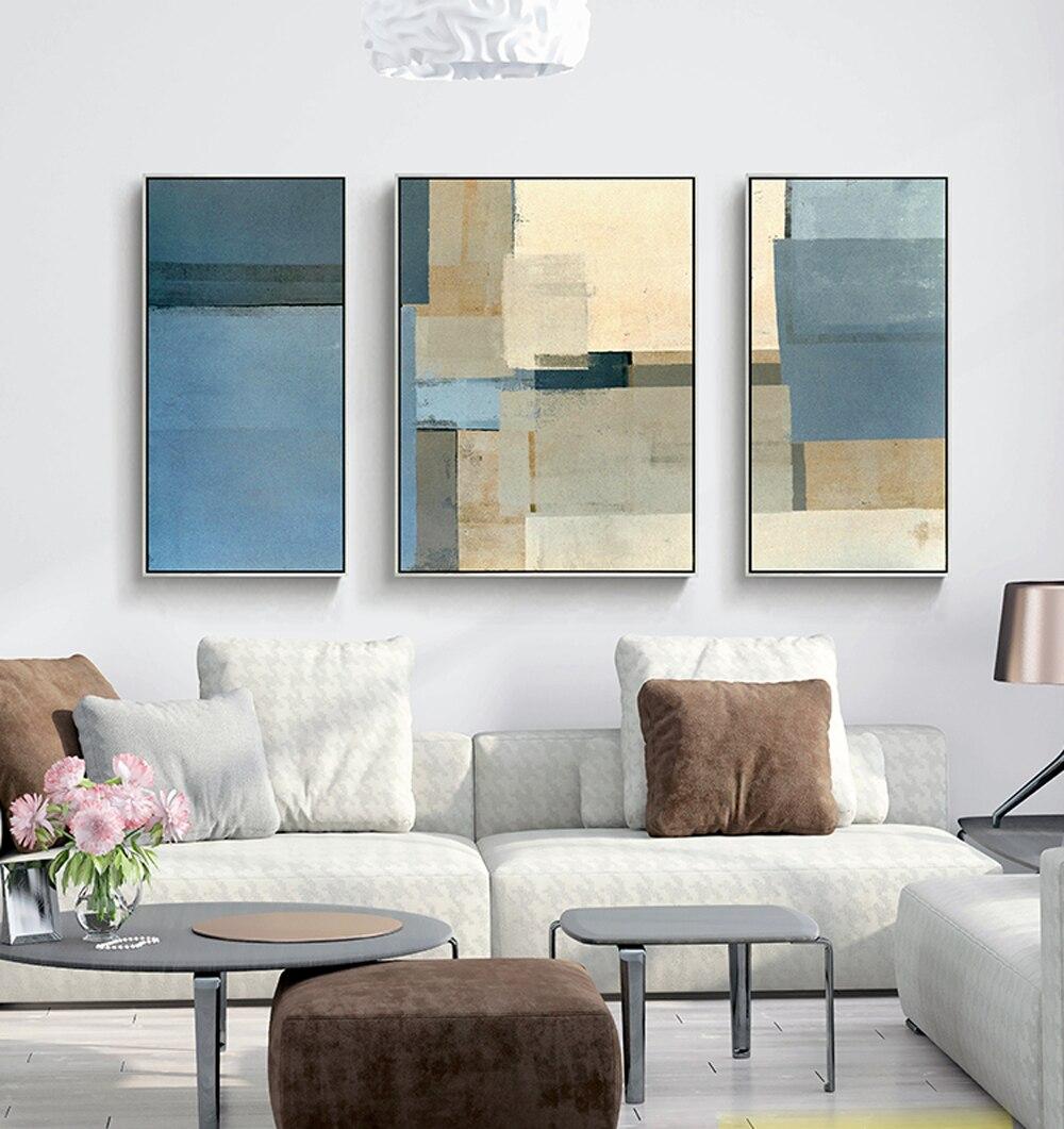 € 44.56 17% de réduction|Toile décorative peinture 3 pièce toile art mural  photos murales pour salon jaune bleu gris peinture abstraite art ...