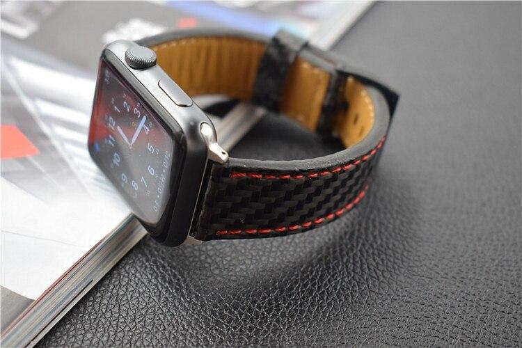 For Apple Seires 4 Watch Rem ægte kulfiber læderbånd til Apple - Tilbehør til ure - Foto 3