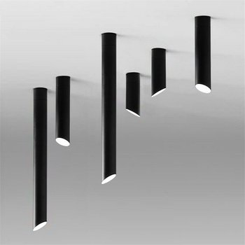 Nordic Oblique Tube Ceiling Lamp Living Room Led Ceiling Lights Black or white Combination Bamboo Lamps for dining room corridor