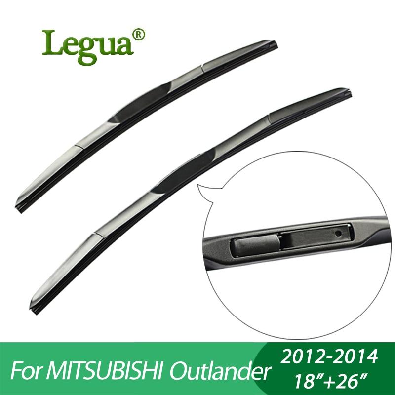 Legua Wiper blades for Mitsubishi Outlander(2012-2014), 18+26,car wiper,3 Section Rubber, windscreen wiper, Car accessory sumks wiper blades for honda insight 26
