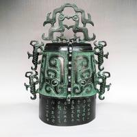 Бесплатная доставка украшения дома Китайский античная бронза имитация дракон феникс символов Белл статуя Art коллекция Craft