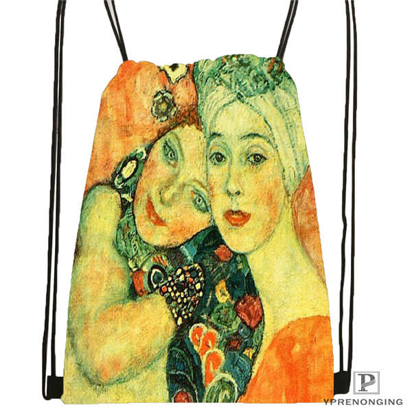 Custom Gustav_Klimt Drawstring Backpack Bag Cute Daypack Kids Satchel (Black Back) 31x40cm#20180611-02-98