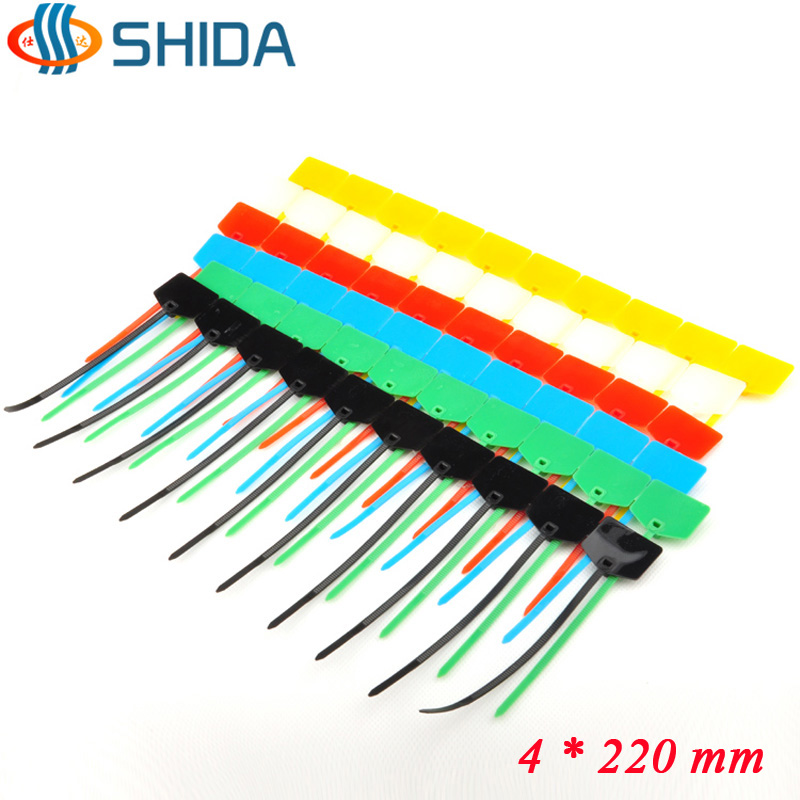 2002de725629 100PCS 4*220MM Nylon Zip Ties Plastic Cable Ties Cable Label Mark Tag for  Computer Wire Management
