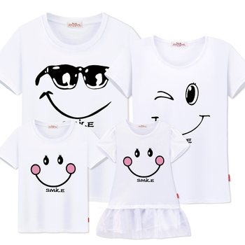 Family Matching Clothes Mother Daughter Dresses Outfits Cotton Casual T-shirts