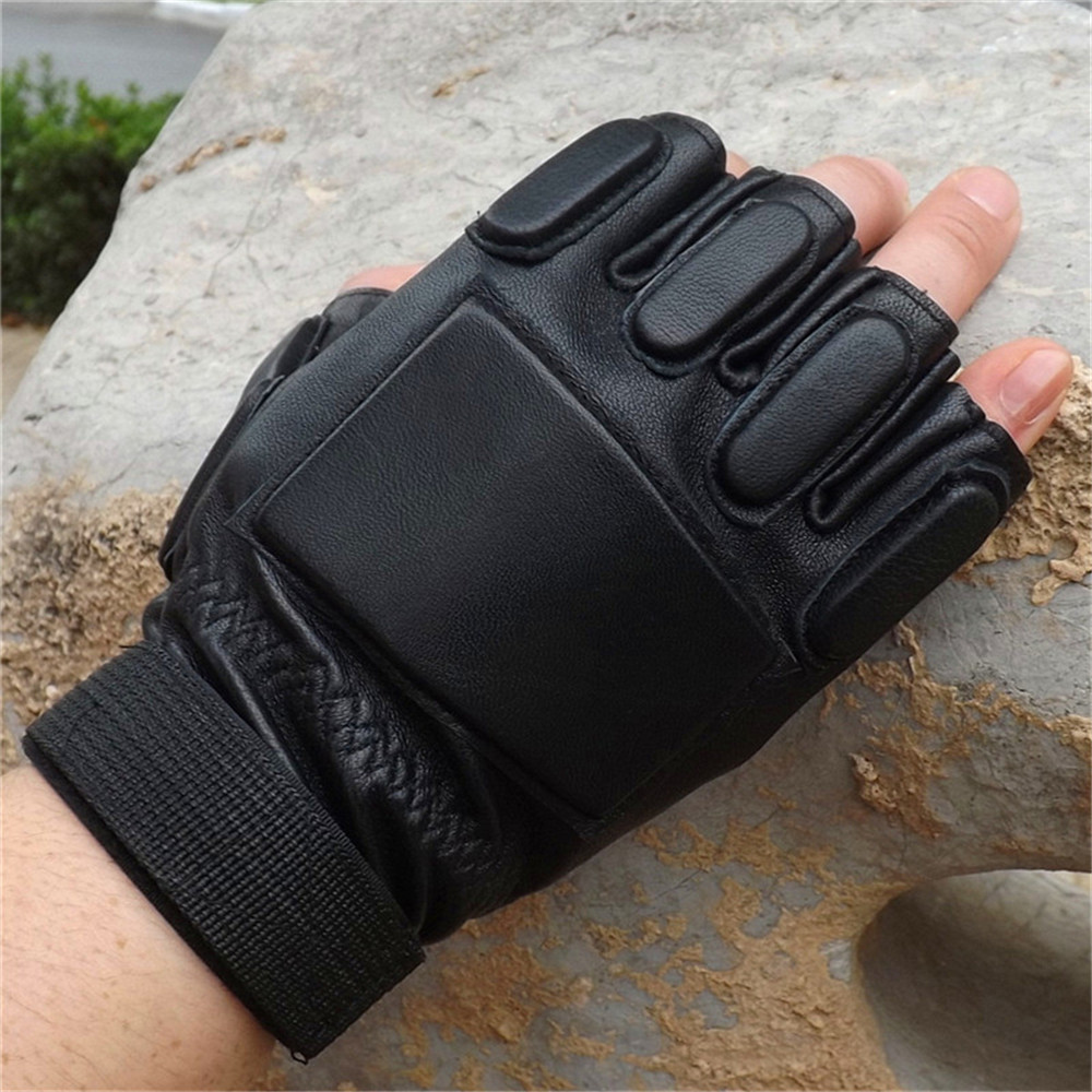 Men's leather tactical half finger gloves Protective non-slip outdoor fitness army fan gloves fitness gloves thin spring summer outdoor sports fitness riding army fans fighting semi finger gloves