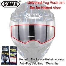 Capacete da motocicleta Anti-embaciamento Moda Orelhas Capacete Completa Rosto Capacete Anti-fog Filme Remendo Resistente Nevoeiro Universal de Alta definição