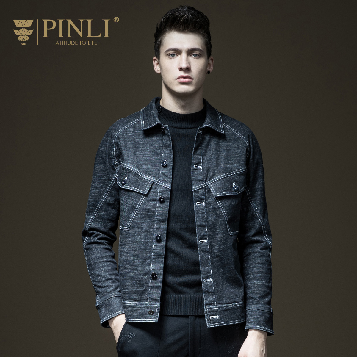 Pinli Limited Hat Detachable Standard Single Breasted Cotton Solid 2017 New Autumn Men