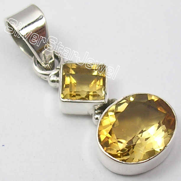 Muiltiple Choices Chanti International Pure Silver CUT YELLOW Citrines 2 Gemset HANDCRAFTED Pendant 3.1 CM HANDMADE Variation