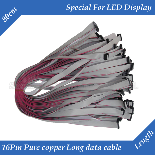 10pcs/lot <font><b>80cm</b></font> 16Pin Long Flat Wire/ Hub Cable Tinned Copper Data cable for <font><b>LED</b></font> Display image