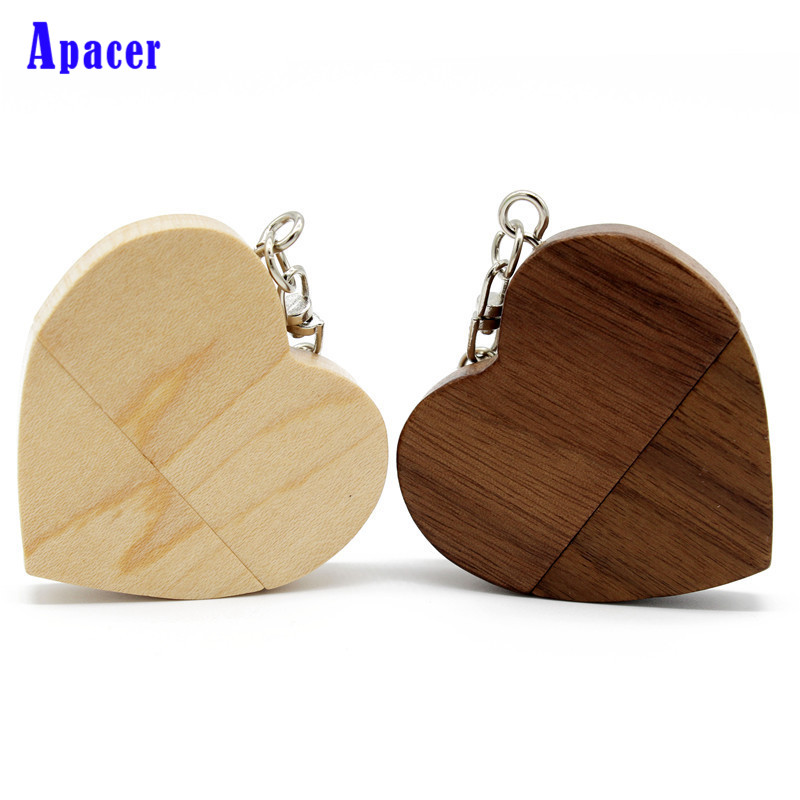 Apacer Wooden Heart Usb flash drive Memory Stick Pen Drive 8gb 16gb 32gb Company Logo engrave custom logo rose gold usb 2 0 memory flash stick pen drive