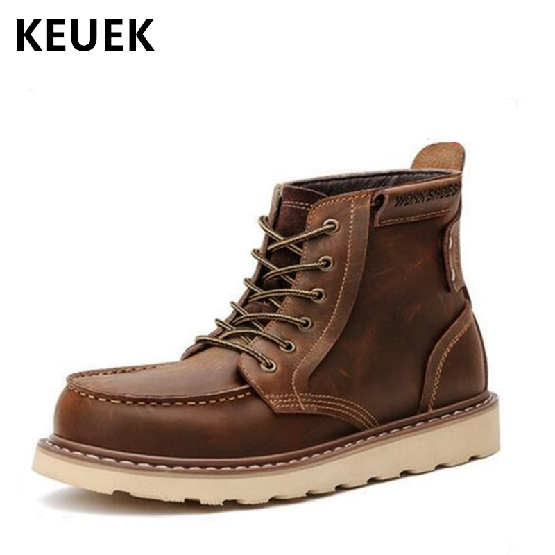 Luxury Vintage Men boots Genuine leather Lace Up Motorcycle boots Classic Fashion Male Tooling shoes Ankle boots 061