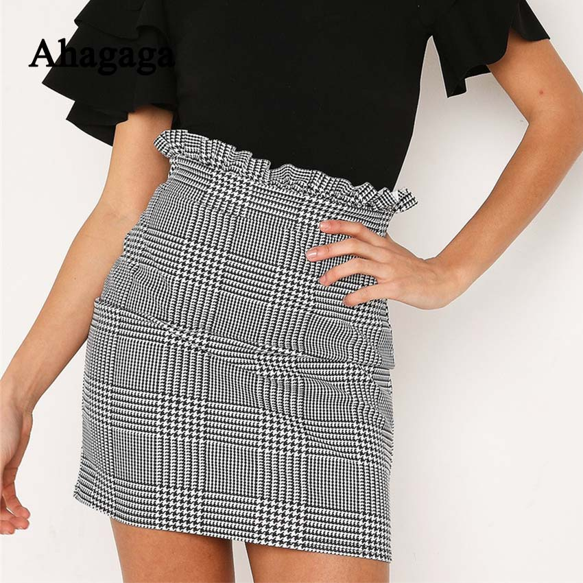 Ahagaga 2018 verano otoño Sexy Falda Mujer Bottoms moda plaid A-line Ruffles Sexy Club Regular Outwear mujeres faldas Mujer