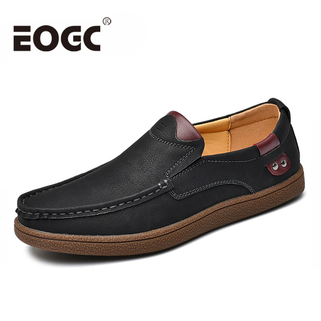 Size 38-46 Comfortable Men Loafers Quality Split Leather Casual Shoes 2019 Autumn Leather Shoes Men Flats Moccasins Shoes male