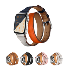 Double Tour bracelet for apple watch strap/band 4 44mm 42mm 38mm correa textured Swift Genuine Leather watchband iwatch 40mm