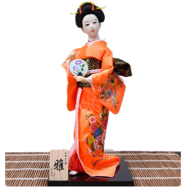 Unik gaya Jepang Orange kimono Geisha Boneka kerajinan dengan penggemar  hadiah tahun Baru dekorasi rumah antik 4f85034988