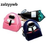 Zalzyywb novo Designer de Couro Mini Bolsa Da Moeda Da Carteira Chave Chaveiro chaveiro Anel Chave Titular Mulheres Saco Acessórios Pingente