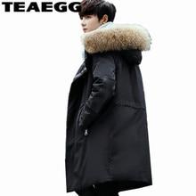 TEAEGG Black Men's Winter Jacket Coat Real Raccoon Fur Thick Top Quality Long Male 90% Winter Down Jackets Men Warm Parkas AL711