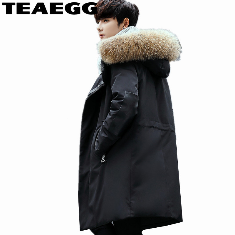 TEAEGG Black Mens Winter Jacket Coat Real Raccoon Fur Thick Top Quality Long Male 90% Winter Down Jackets Men Warm Parkas AL711