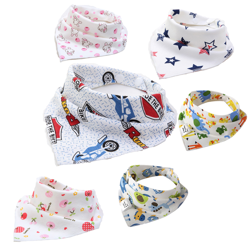 24Pcs Double Layers Cotton Baby Bibs baby bandana bibs & burp cloths feeding Newborn Triangle Scarf character Animal babador