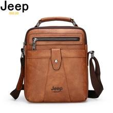 JEEP BULUO Big Size Men Messenger Bags New Classic Crossbody Shoulder Bag For 9.7 iPad High Quality Mens Leather Tote Handbag