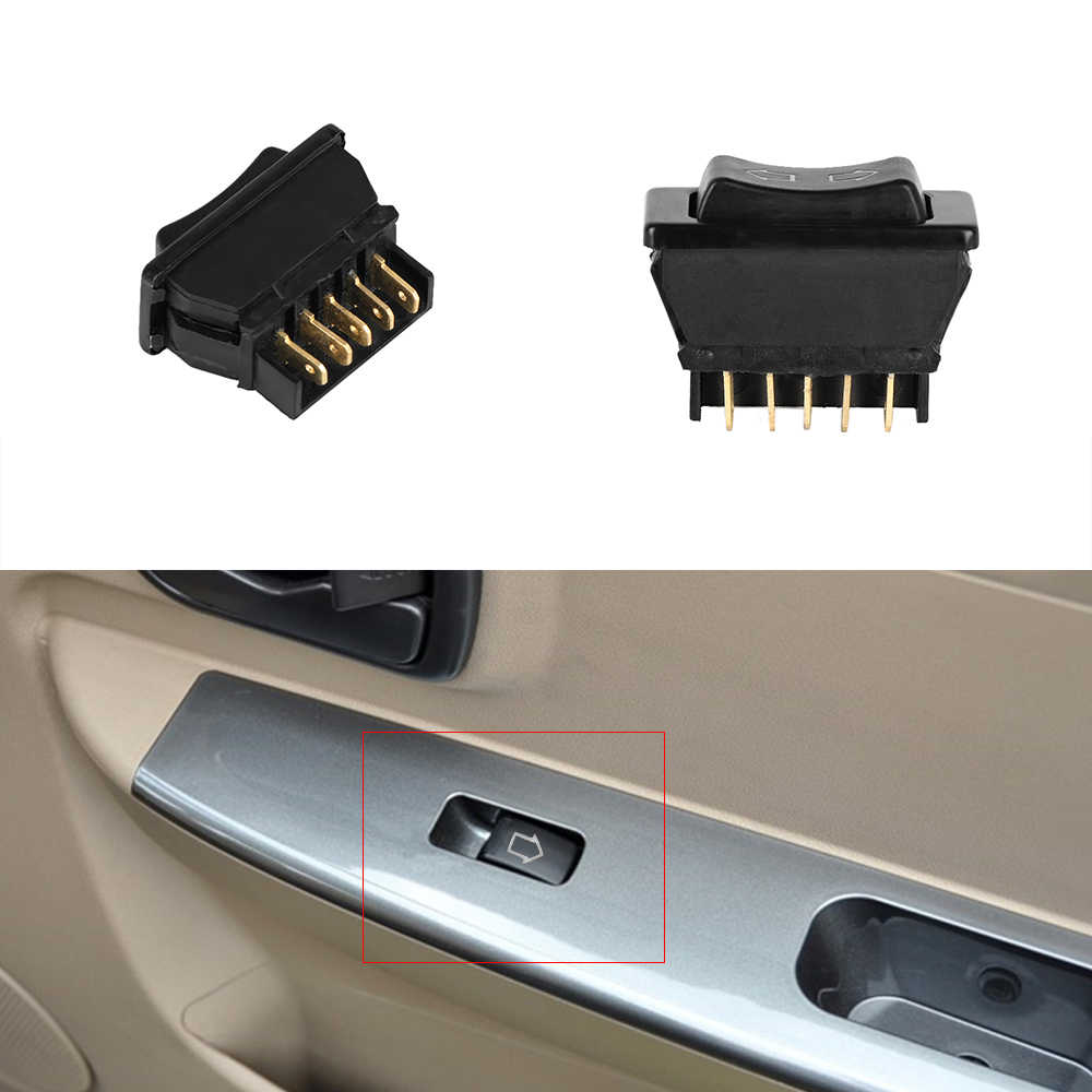 Universal Electric Plastic Black Direct Continuous Current 12V 20A Car Power Window Switch Auto Power Button Controller 5 pins