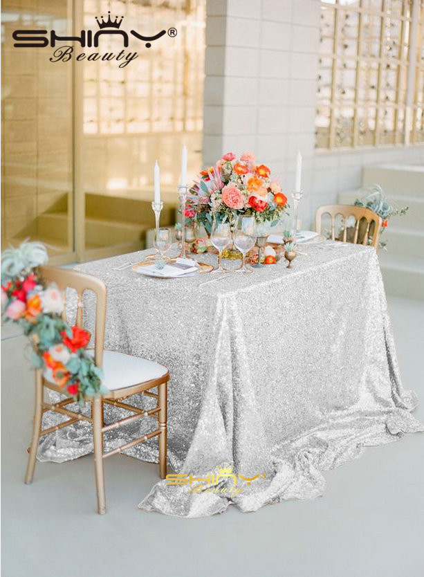 Factory Directly Selling High-end Sparkly Silver Sequin Tablecloth For Christmas Wedding Table Decoration(90x156-Inch)-02.06