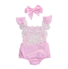 Flower Pink Jumpsuit Headband Outfits Baby Clothing Sunsuit Newborn Infant Baby Girls Lace Floral Clothes Bodysuits 0-18M(China)