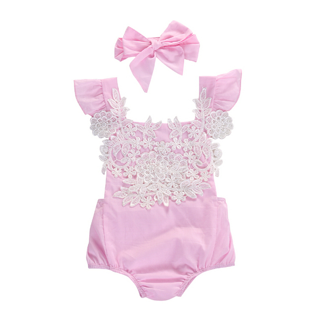 9479fd181e3c Flower Pink Jumpsuit Headband Outfits Baby Clothing Sunsuit Newborn ...